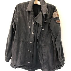 Free people distressed black coat